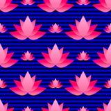 Nahtloses Muster mit hellem rosa Lotos Stockbilder