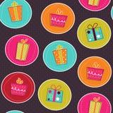 Nahtloses Muster mit hellen Geschenkkästen Stockfotografie