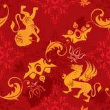 Nahtloses Muster mit heraldischen Elementen der Weinlese Lizenzfreie Stockfotografie