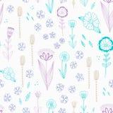 Nahtloses Muster mit Herbstblumen, -blättern und -gras Stockfoto