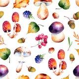 Nahtloses Muster mit Herbstlaub, Blumen, Niederlassungen, Beeren, Eicheln Lizenzfreie Stockfotografie
