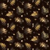 Nahtloses Muster mit Herbstlaub der Eiche und der Eicheln Hand gezeichnete Illustration mit farbigen Bleistiften lizenzfreie stockfotografie