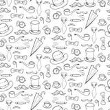 Nahtloses Muster mit Herrelementen, -hüten und -schnurrbart stock abbildung
