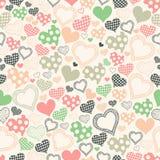 Nahtloses Muster mit Herzen auf einem hellen Hintergrund Stockbilder