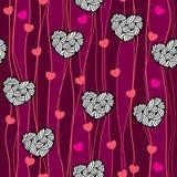 Nahtloses Muster mit Herzen und Linien Stockbild