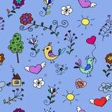 Nahtloses Muster mit Herzen, Vögeln und Blumen für Gewebe Stockbilder