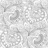 Nahtloses Muster mit Herzverzierung Dekoratives mit Blumenmuster in zentangle Art Erwachsene antistress Farbtonseite Lizenzfreie Stockbilder