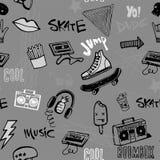 Nahtloses Muster mit Hippie-Teenagergekritzeln Stockbilder