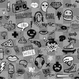 Nahtloses Muster mit Hippie-Teenagergekritzeln Stockfotos