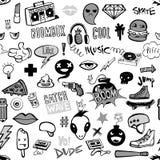 Nahtloses Muster mit Hippie-Teenagergekritzeln lizenzfreie abbildung