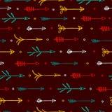 Nahtloses Muster mit horizontalem Muster von Pfeilen Stockbild