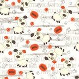 Nahtloses Muster mit Hunden, den Tatzen, den Knochen und Beschriftung Stockbild