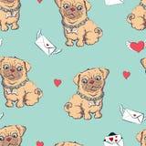 Nahtloses Muster mit Hunden, kindisches Muster mit Hunden, Vektortextilgewebedruck Lizenzfreie Stockfotos