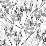 Nahtloses Muster mit Hunderosafarbenen Beeren Stilvolles illustrat Lizenzfreies Stockfoto