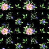 Nahtloses Muster mit Hundrose, grünen Leben und blauer Blume stockbilder