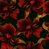 Nahtloses Muster mit Iris im Schwarzen Lizenzfreie Stockfotografie