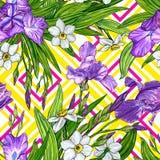 Nahtloses Muster mit Iris- und Narzissenblumen Lizenzfreies Stockfoto