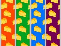 Nahtloses Muster mit Käse Käse mit Löchern set Stock Abbildung