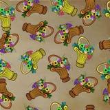Nahtloses Muster mit Körben und Blumen Lizenzfreie Stockfotografie