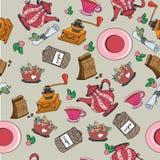 Nahtloses Muster mit Küchen-Werkzeugen Stockbilder