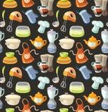 Nahtloses Muster mit Küchenwerkzeugen und kochen Ikonen. Stockbilder