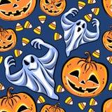Nahtloses Muster mit Kürbise, Geister und Süßigkeiten Stockfoto