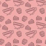 Nahtloses Muster mit Kaffee und Kuchen Stockfoto