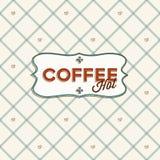 Nahtloses Muster mit Kaffeebohnen und lable. Lizenzfreies Stockbild