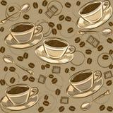 Nahtloses Muster mit Kaffeebohnen und Schalen Vektor Stockbilder