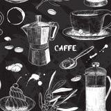 Nahtloses Muster mit Kaffeedesign stock abbildung