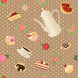 Nahtloses Muster mit Kaffeetopf, -schalen, -kuchen und -rosen Lizenzfreie Stockbilder