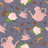Nahtloses Muster mit Kaffeetopf, -schalen, -zimt, -nelken, -anis und -rosen Stockfoto