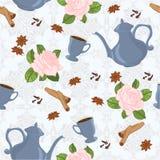 Nahtloses Muster mit Kaffeetopf, -schalen, -zimt, -nelken, -anis und -rosen Stockfotografie