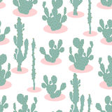 Nahtloses Muster mit Kaktus Stockfotos
