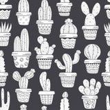 Nahtloses Muster mit Kaktus in den Töpfen Schwarzweiss Stockfoto