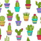 Nahtloses Muster mit Kaktus in der Farbe Stockfotografie