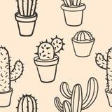 Nahtloses Muster mit Kaktus Muster des Kaktus Kakteen in den Töpfen Lizenzfreies Stockbild