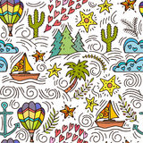 Nahtloses Muster mit Kaktus, Palmen, Schiffsanker Stockfoto