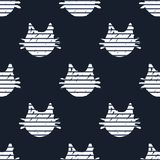 Nahtloses Muster mit Karikatur-Katze ` s geht voran Stockbild