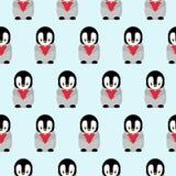 Nahtloses Muster mit Karikatur-Pinguin-und Herz-Entwurf auf blauem Hintergrund lizenzfreie abbildung