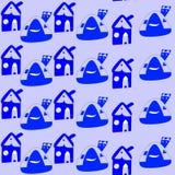 Nahtloses Muster mit Karikaturblauhäusern Kindische Zeichnung Lizenzfreie Stockbilder