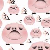 Nahtloses Muster mit Karikaturferkeln Rosa Schwein auf einem weißen Hintergrund Stockfoto