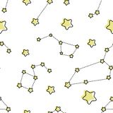 Nahtloses Muster mit Karikatursternen und -galaxie vektor abbildung