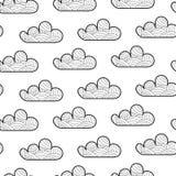 Nahtloses Muster mit Karikaturwolke Wolke mit Dekorationselementen für Hintergrund, Plakat, Karte stock abbildung