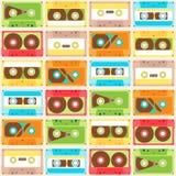 Nahtloses Muster mit Kassetten Stockbilder