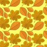 Nahtloses Muster mit Kastanien- und Buchenherbstlaub lizenzfreie abbildung