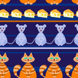 Nahtloses Muster mit Katze, Maus, Käse Lizenzfreies Stockbild