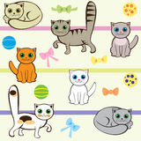 Nahtloses Muster mit Katzen Lizenzfreies Stockfoto