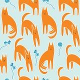 Nahtloses Muster mit Katzen Stockfotografie