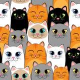 Nahtloses Muster mit Katzen Hintergrund mit Grauem, weißem, Schwarzem, Ingwer und siamesische Kätzchen Lizenzfreie Stockfotos